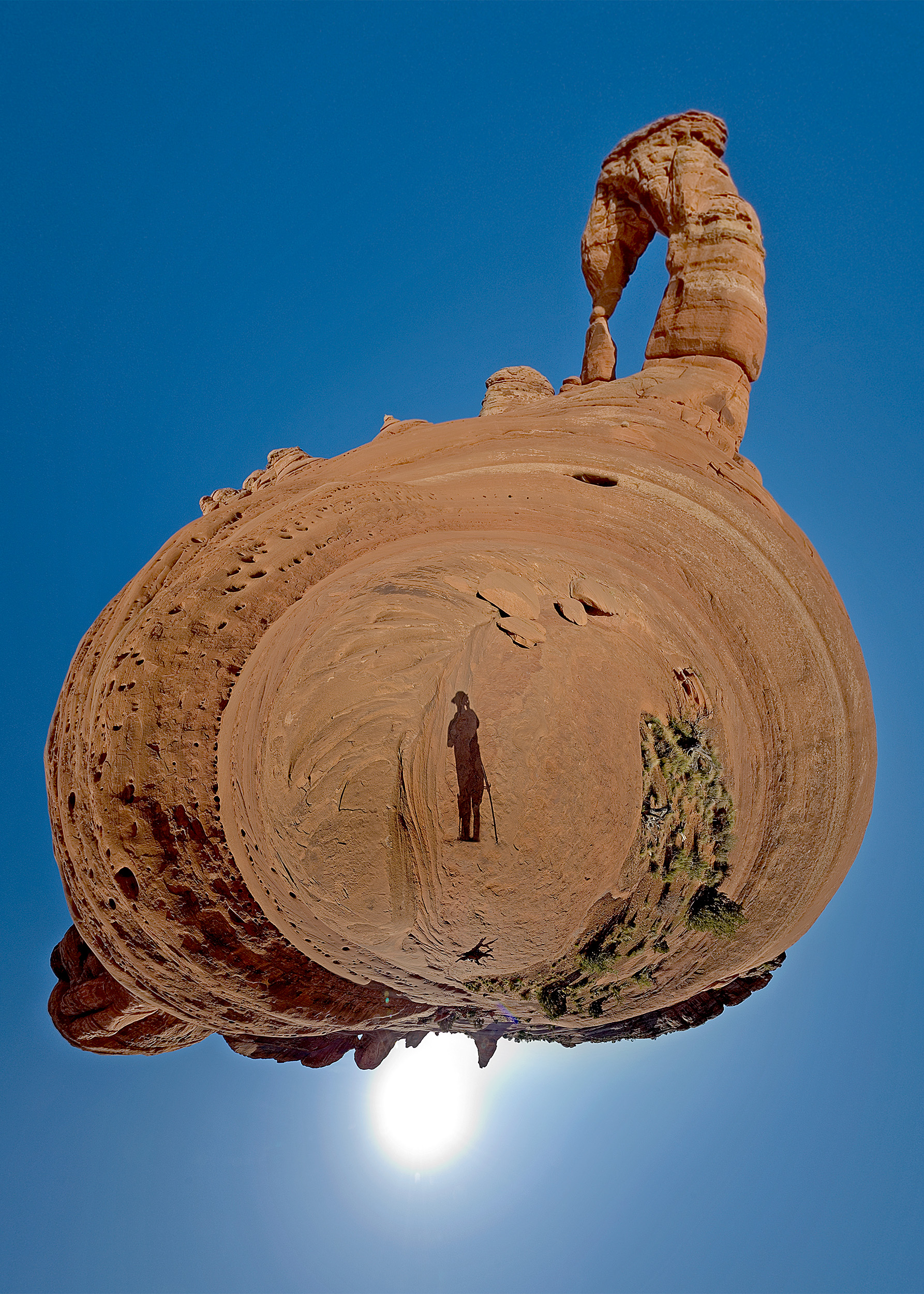 """Self portrait """"planet"""" panorama at Delicate Arch, Arches National Park. Dan Bailey, 2010"""