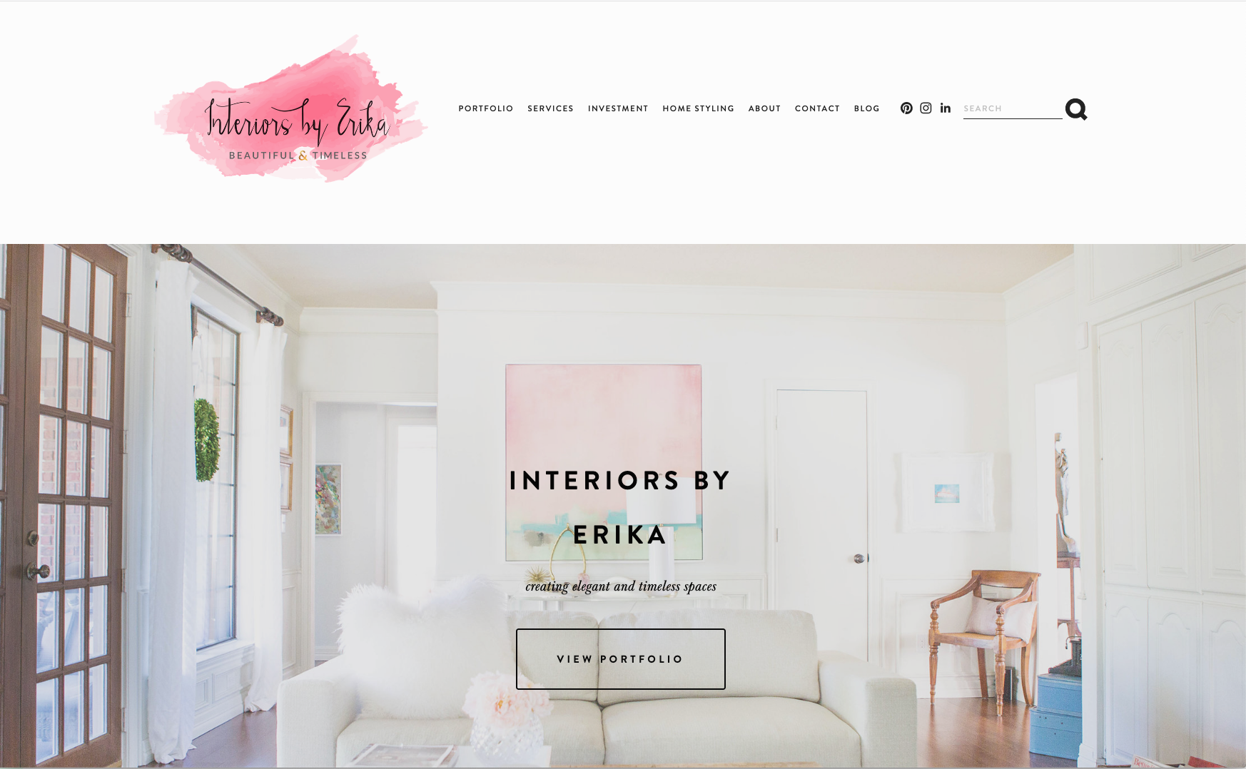 Interiors by Erika      - a Squarespace website for an interior decorator, also featuring Jessica's photography of client's interiors
