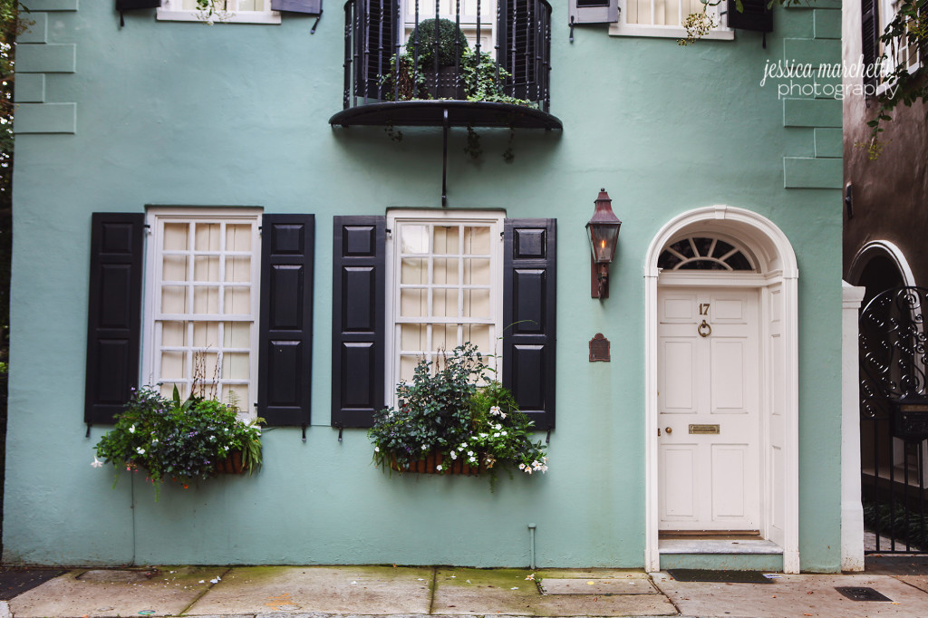 Blue House Black Shutters Charleston Homes