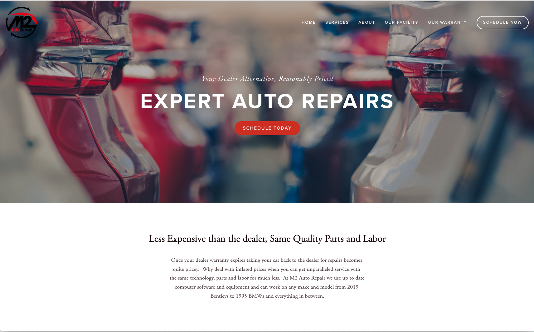M2 Auto Repair   , A squarespace website overhaul. The client had a squarespace site already that was bare and non cohesive. Jessica completely transformed it.