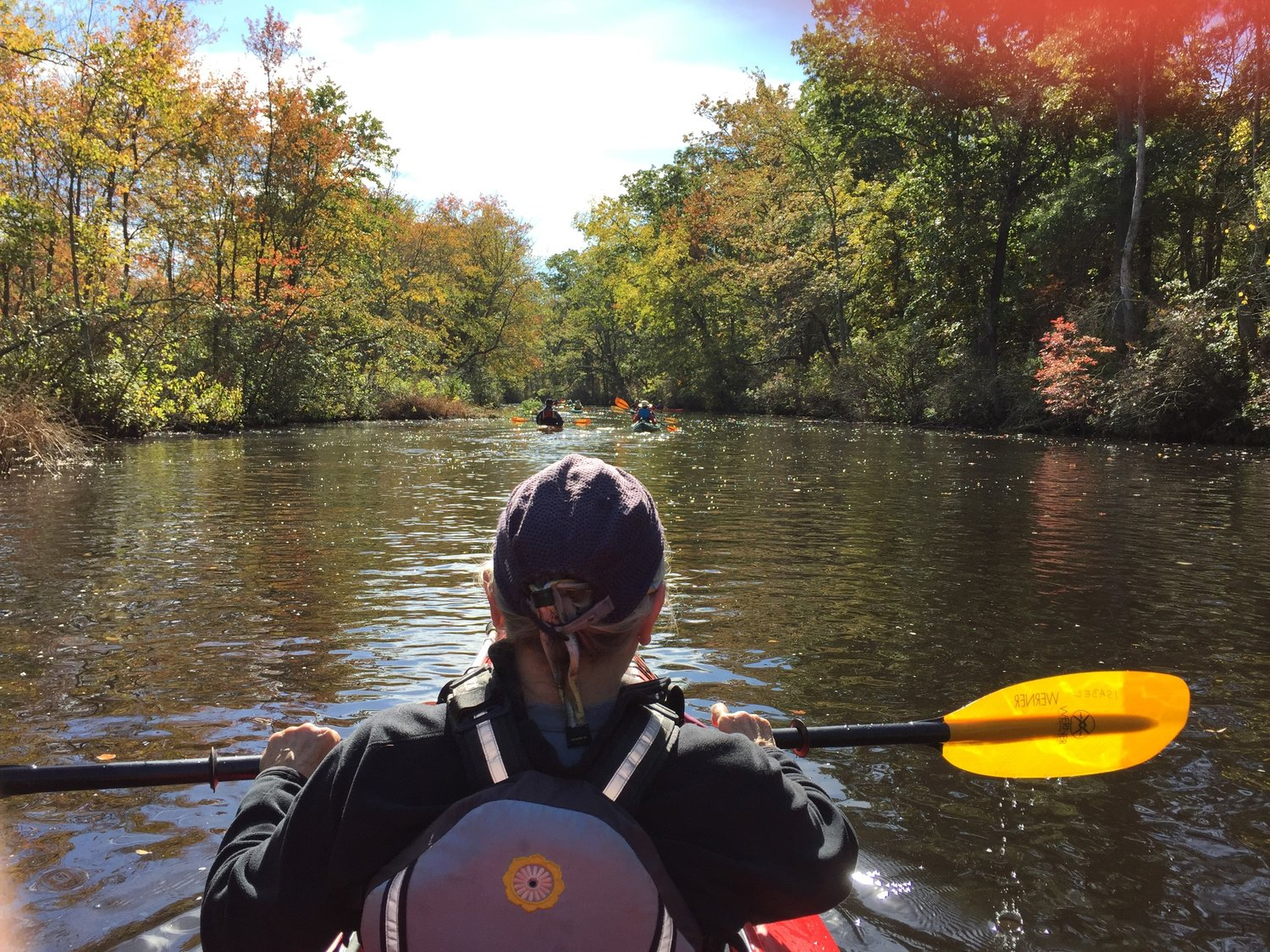 Photo of a man kayaking in a riverlike body of water. The foreground is the back of a man's head and back. He is sitting in a kayak wearing a lifejacket, holding a black and yellow paddle. In the background are trees with bright vibrant colors. Several other kayakers are ahead.