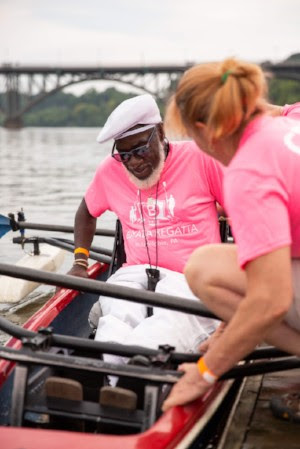 Ricky Howard, Philadelphia Adaptive Rowing club member, getting ready for race in 2018