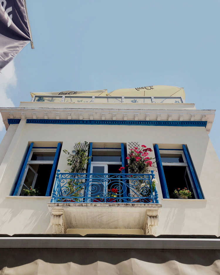 A beautiful balcony above a restaurant in Athens