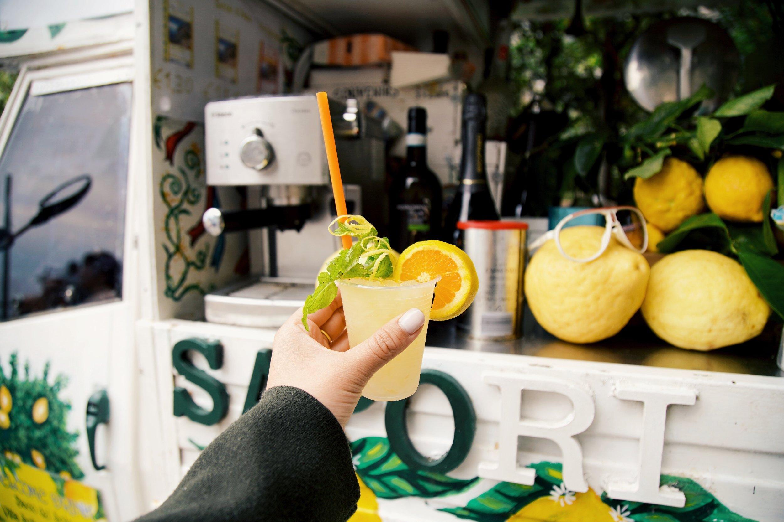 A refreshing freshly made Lemon sorbet