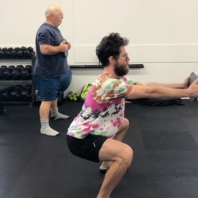 "DRILL: Squat-Hinge Switches with Plate Reach⁣ ⁣ Squatting and hingeing are two of the most fundamental lower body movements a human can perform. They have some similarities but are fundamentally different actions, , so I think of them as being on opposite ends of the same spectrum. ⁣ ⁣ 𝐊𝐞𝐲 𝐏𝐨𝐢𝐧𝐭𝐬: ⁣ This drill helps differentiate squatting and hingeing and should have:⁣ • No change in spine position⁣ • No loss of an active foot/arch⁣ • Balance maintained over the midfoot⁣ • Different vectors for the plate reach⁣ • Different degrees of hip/knee/ankle flexion⁣ ⁣ 𝐋𝐨𝐧𝐠 𝐕𝐞𝐫𝐬𝐢𝐨𝐧:⁣ This primer/accessory/finisher is meant to emphasize the differences between both movements (with a little added core work). Having at least a basic understanding of both will help navigate a variety of positions, tasks, and demands. Think more tools in the toolbox. ⁣ ⁣ Typically, a client will gravitate more towards one movement over the other. This can be due several factors such as past experience, injury history, limb lengths, hip socket morphology, and so on. The ""lift with your knees, not your back"" nonsense from many workplaces really feeds into this. ⁣ ⁣ Simply spending time differentiating the two can clean up some technical mistakes, such as ""squatting"" your deadlift (hard on the low back), hingeing your squat too aggressively (also hard on the low back), suboptimal load order sequencing during squats (hard on the knees), too much verticality during kettlebell swings, and so on. ⁣ ⁣ Thanks to @krebinms and T-Raw for the demos. ⁣ ⁣ AGD. Train well."
