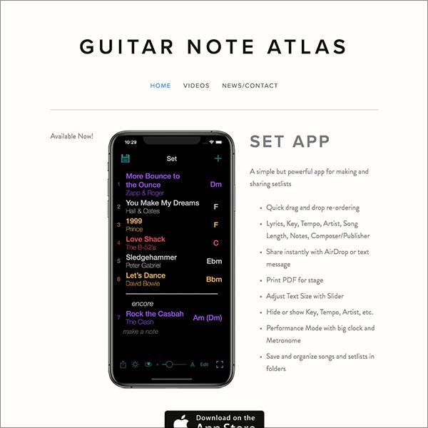 Guitar Note Atlas (mobile app website) -
