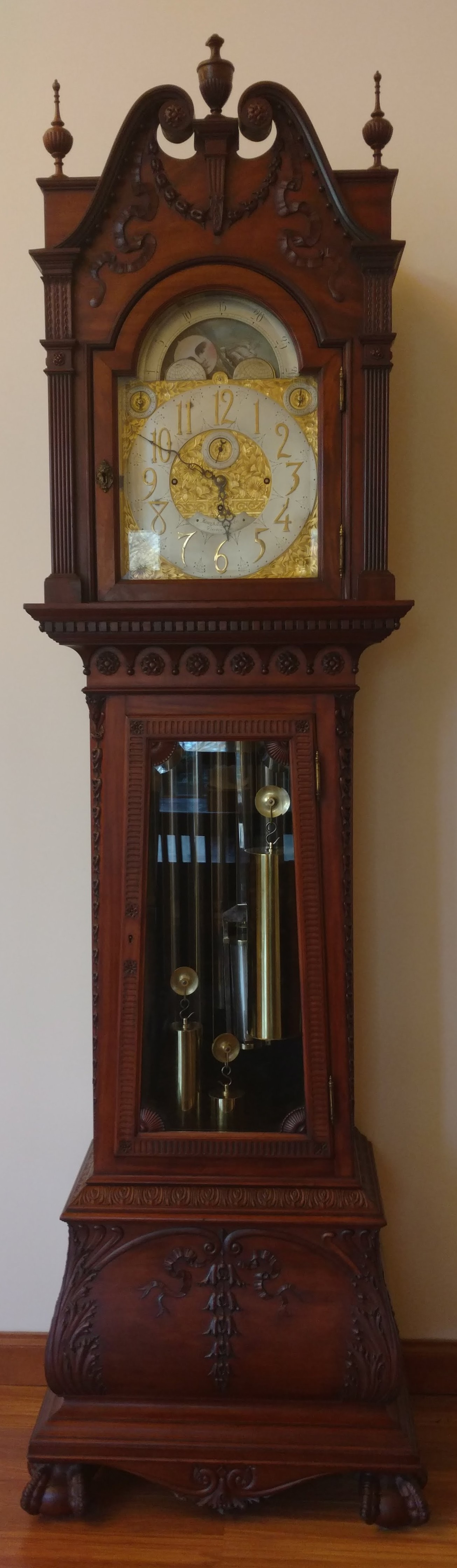 This tall clock was built by Walter Durfree of Boston in 1870. It was given to the library by Mrs. Holbrook R. Davis of Osterville.