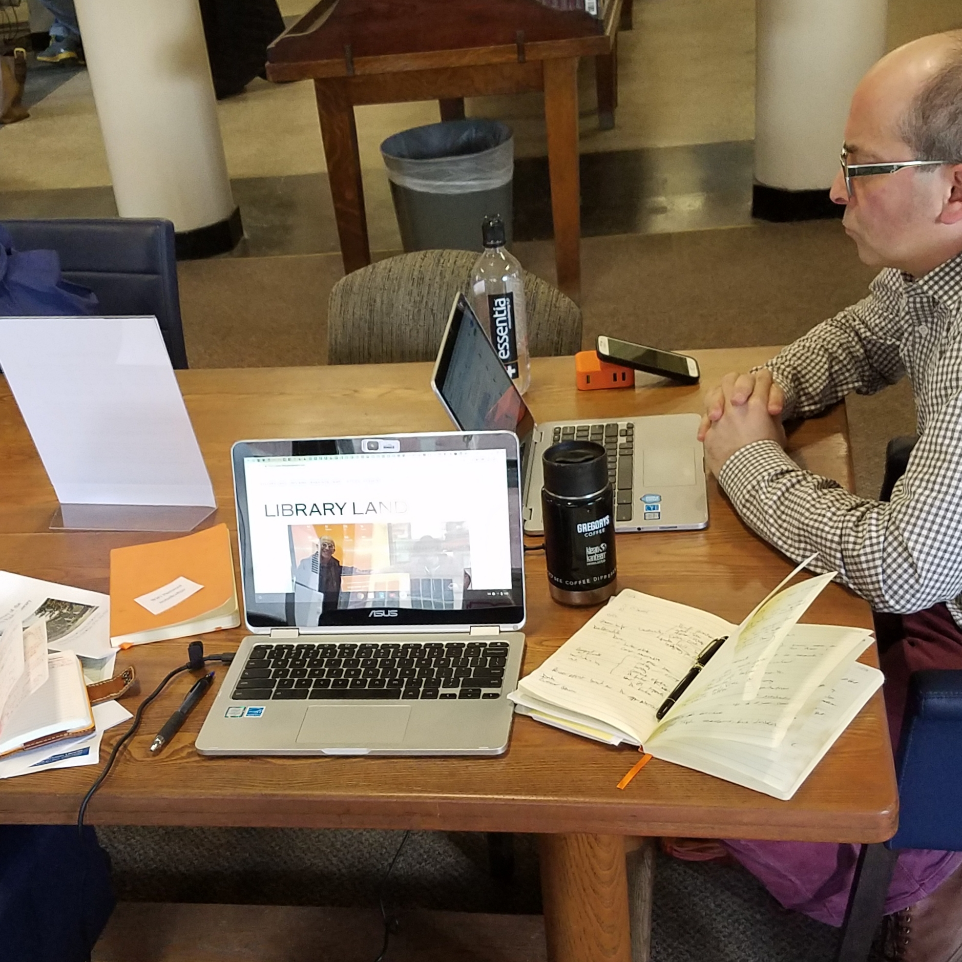 Adam hard at work at the Bigelow Free Public Library in Clinton, Massachusetts
