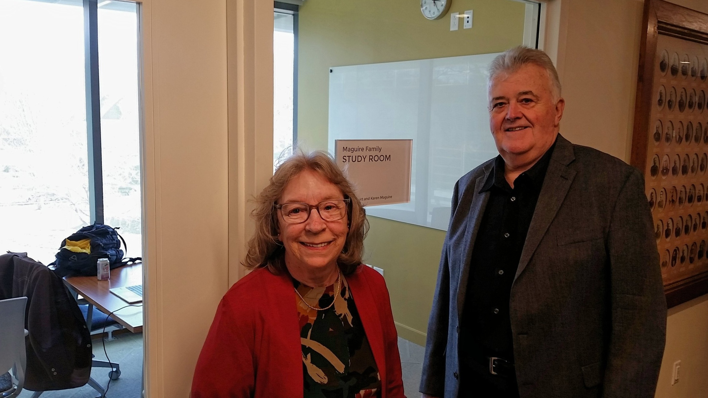 Karen and Robert Maguire, the proud patrons of the Maguire Family Study Room