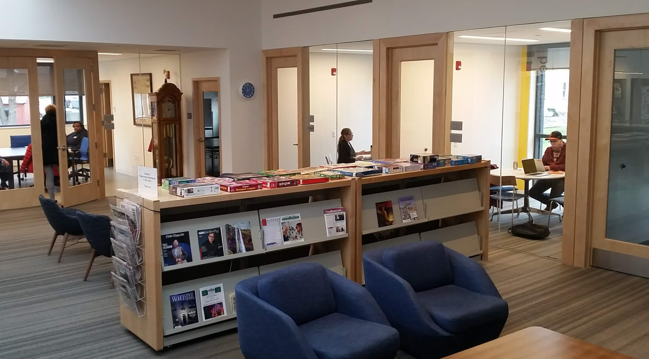 The periodicals room and study rooms.