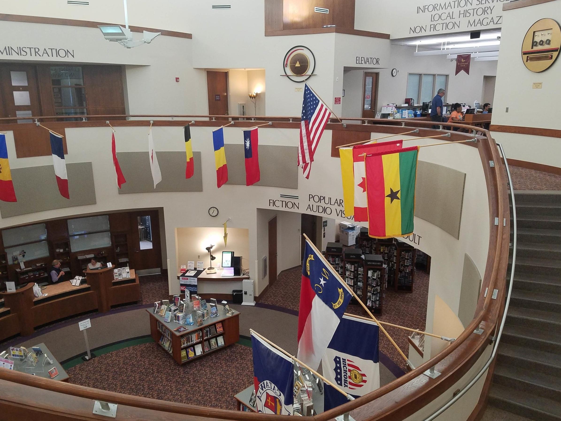 The atrium at the Patrick Beaver Library.