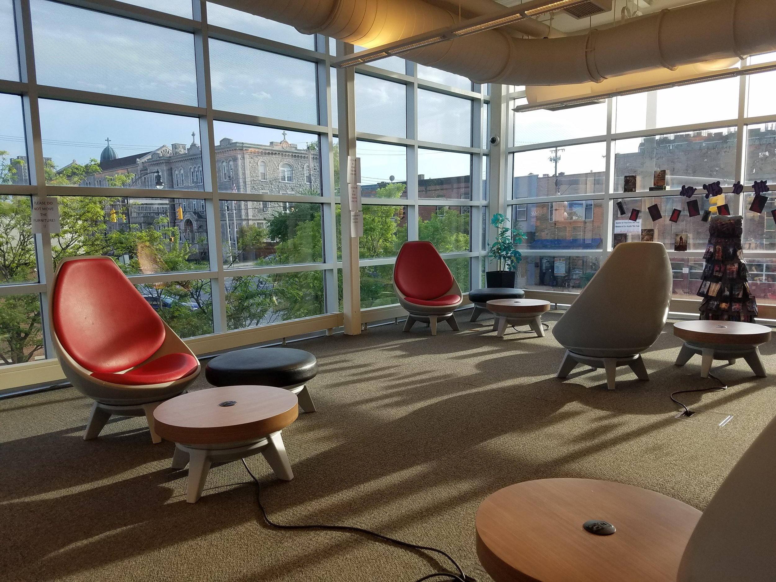 One of the many sweet seating areas at the Southeast Anchor Branch