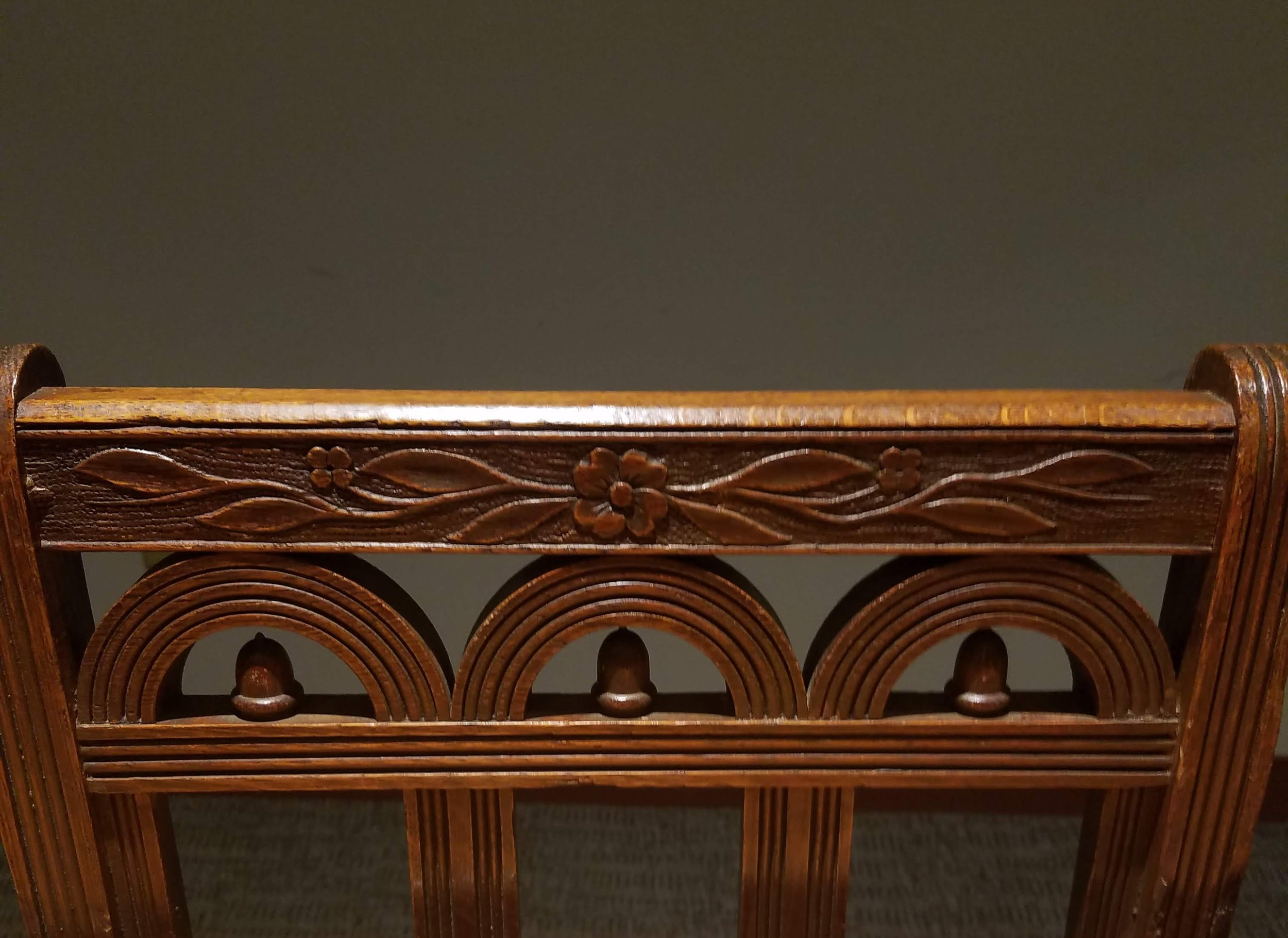 Details of one of the oak chairs.