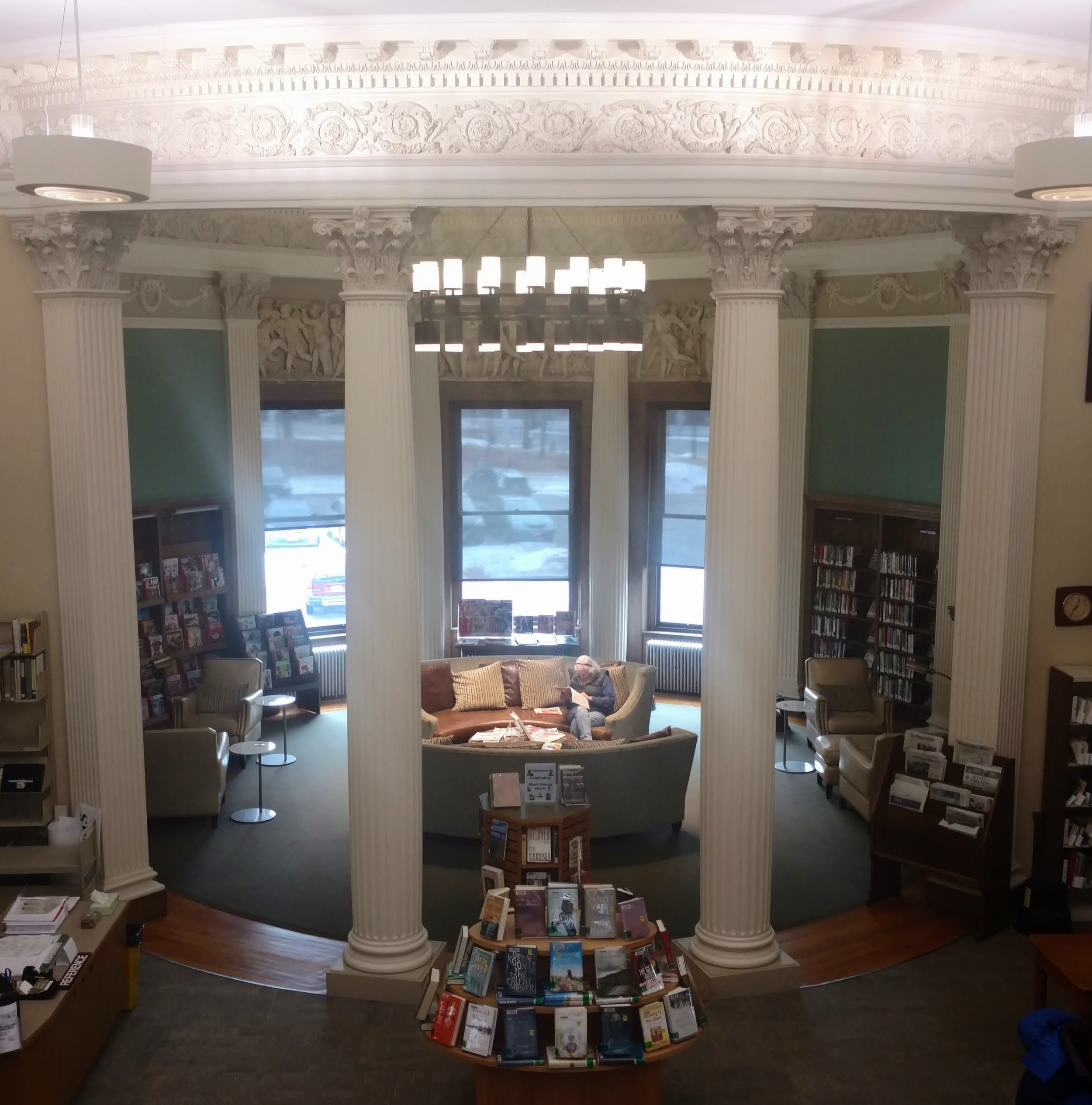 Looking into the round reading room in Wayland.