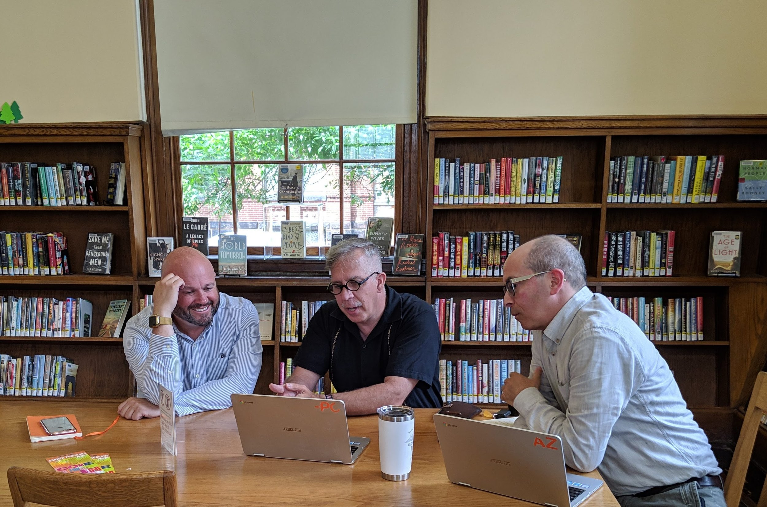 Hard at work in the O'Connell branch of the Cambridge Public Library.