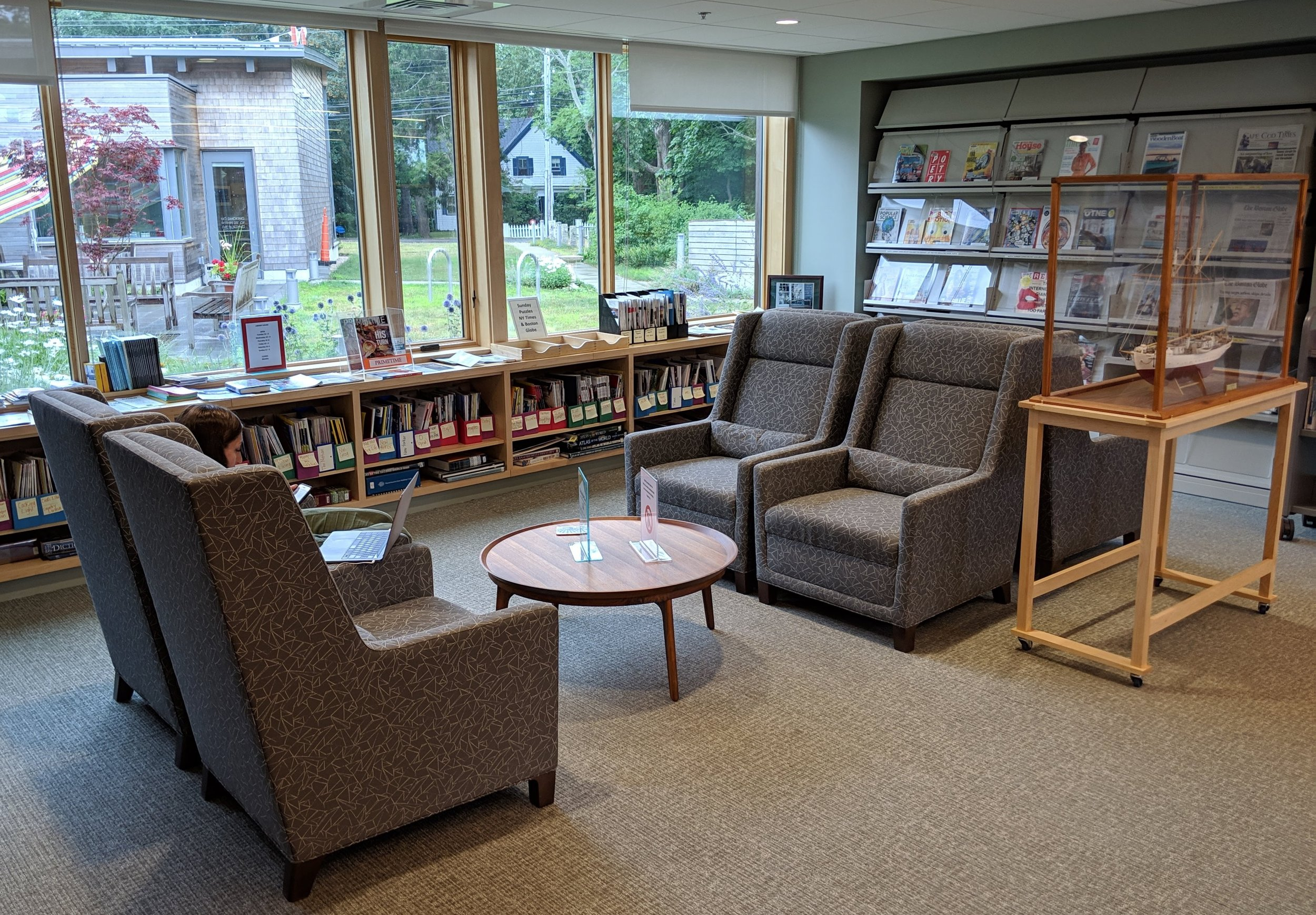 One of the many seating areas at the Eastham Library.
