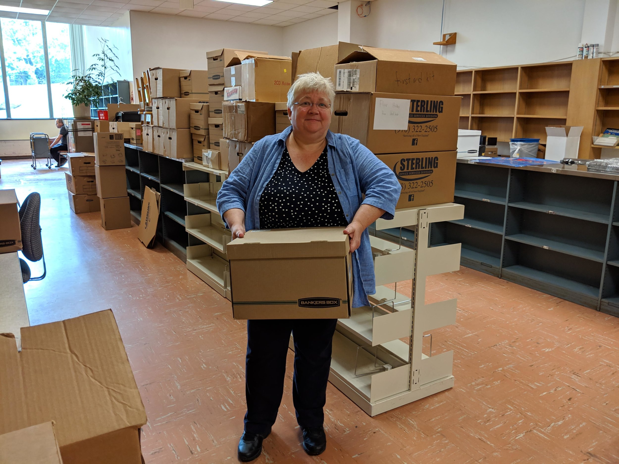 Packing and moving the Medford Library.