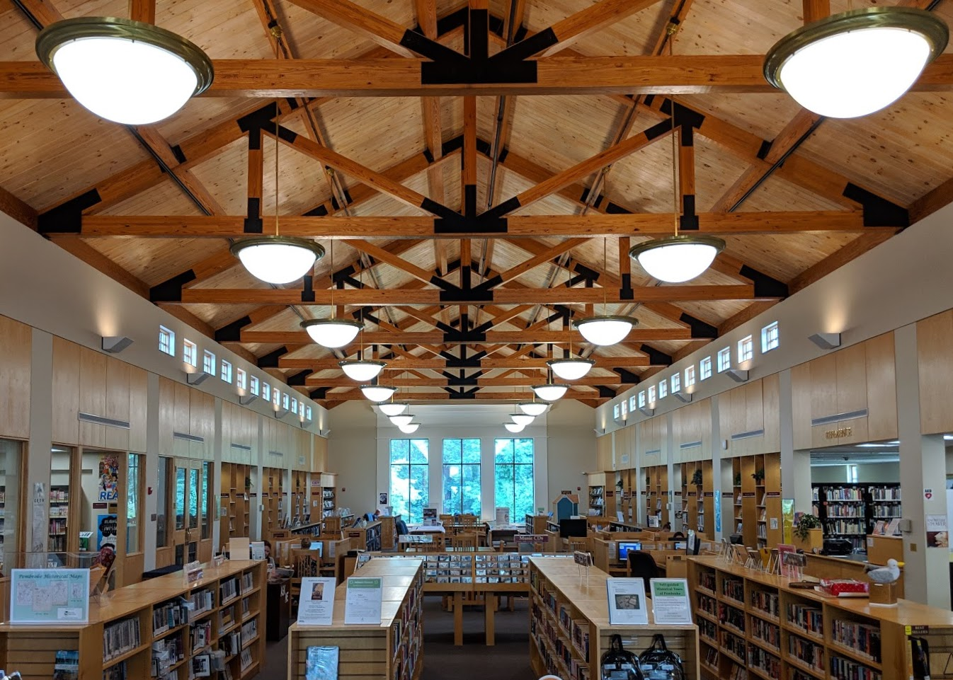 The stylish interior of the Pembroke Library.