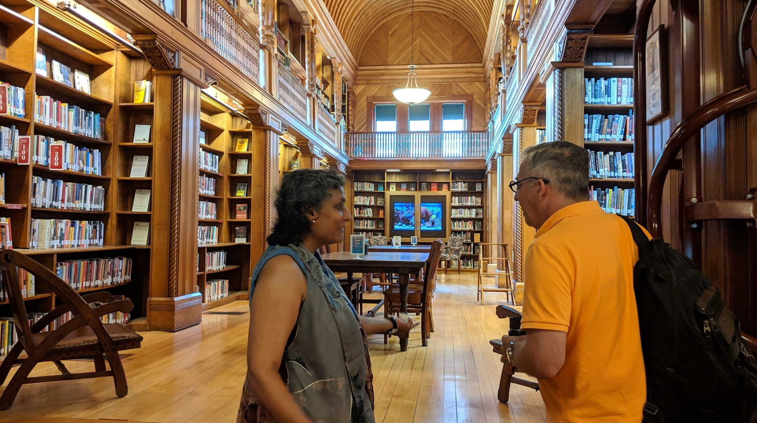 Looking into the beautiful reading room of the Ames Free Library in Easton.
