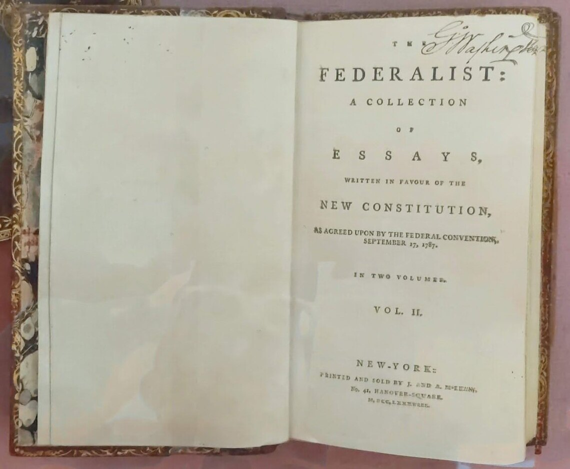George Washington's copy of the Federalist Papers.