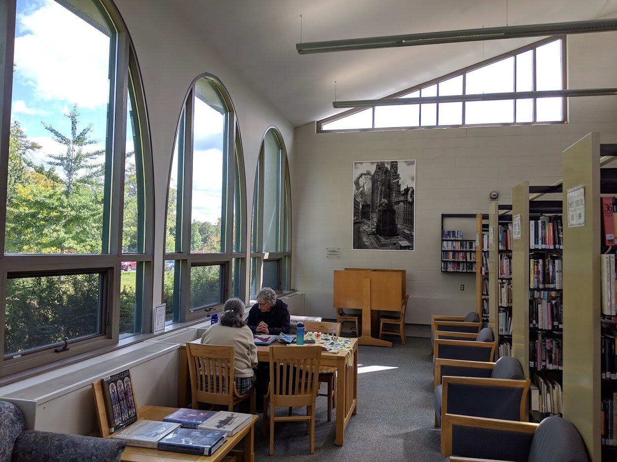 The open interior at the Milne Library.