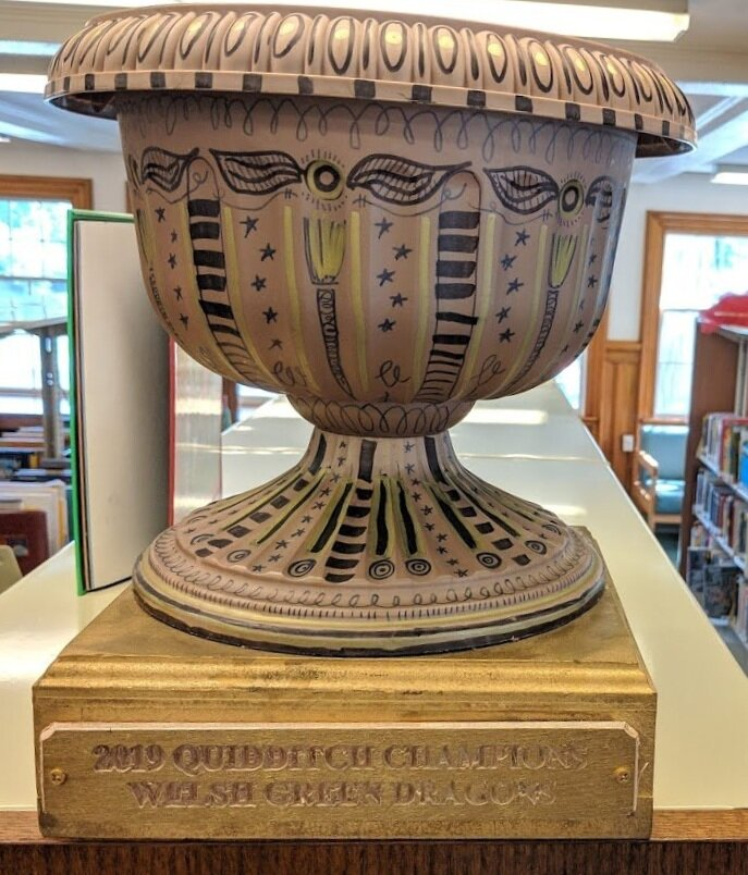 The 2019 Greenfield Library Quidditch Champions Cup - awarded to the Welsh Green Dragons.