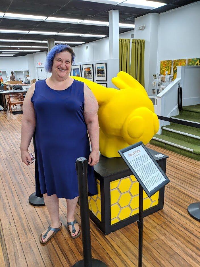 Rachel Katz and her big bee.