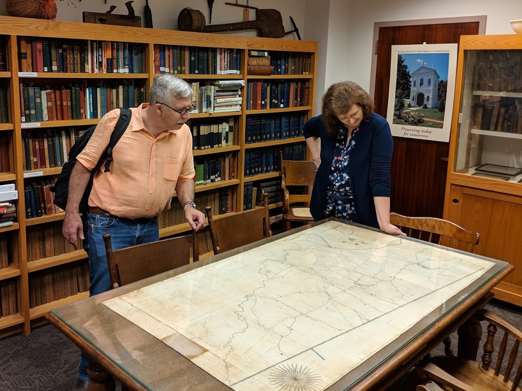 Admiring a hand-drawn map at the Hazen Memorial Library in Shirley.