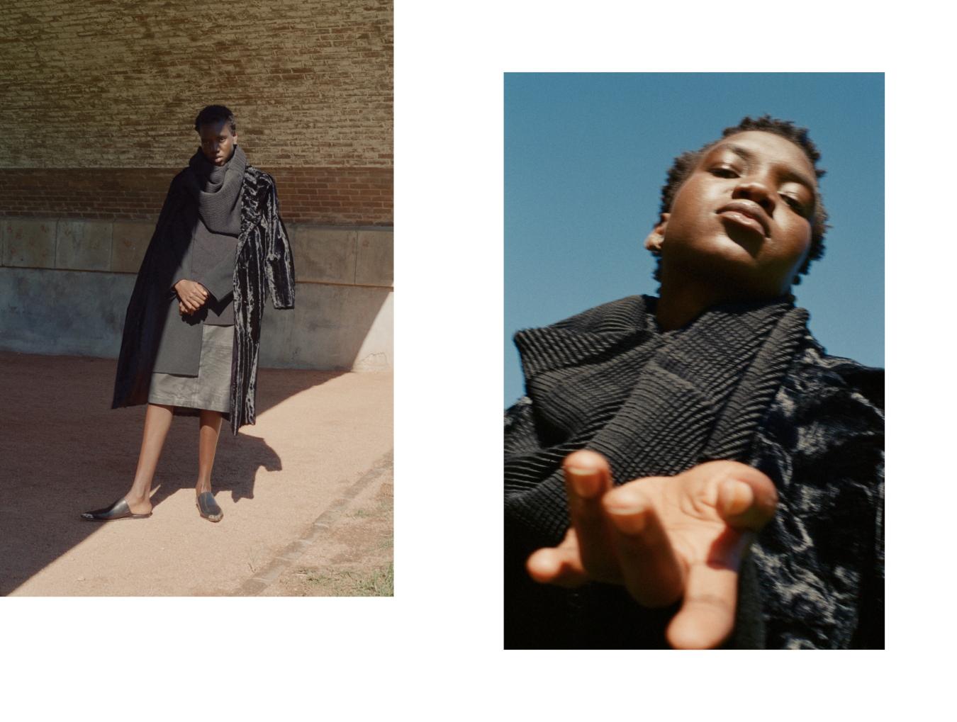 Top worn as scarf Pleats Please by Issey Miyake, Coat Unreal Fur, Jacket Acne Studios, Shoes Alexander Wang