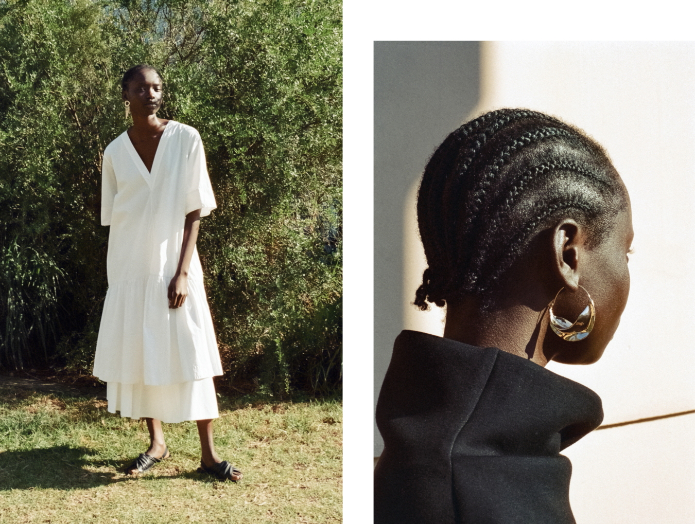 Right: Lee Mathews dress, Stylist's own skirt , Cos sandals , Stylist's earrings // Right: cos jumper, Stylist's own earrings