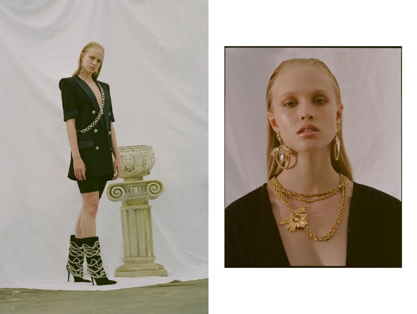 Left: Balmain Blazer Dress, Guiseppe Zanotti Boots, Balyck Earrings & Harness // Right: Alexandre Vauthier Dress, Balyck Earrings & Necklace