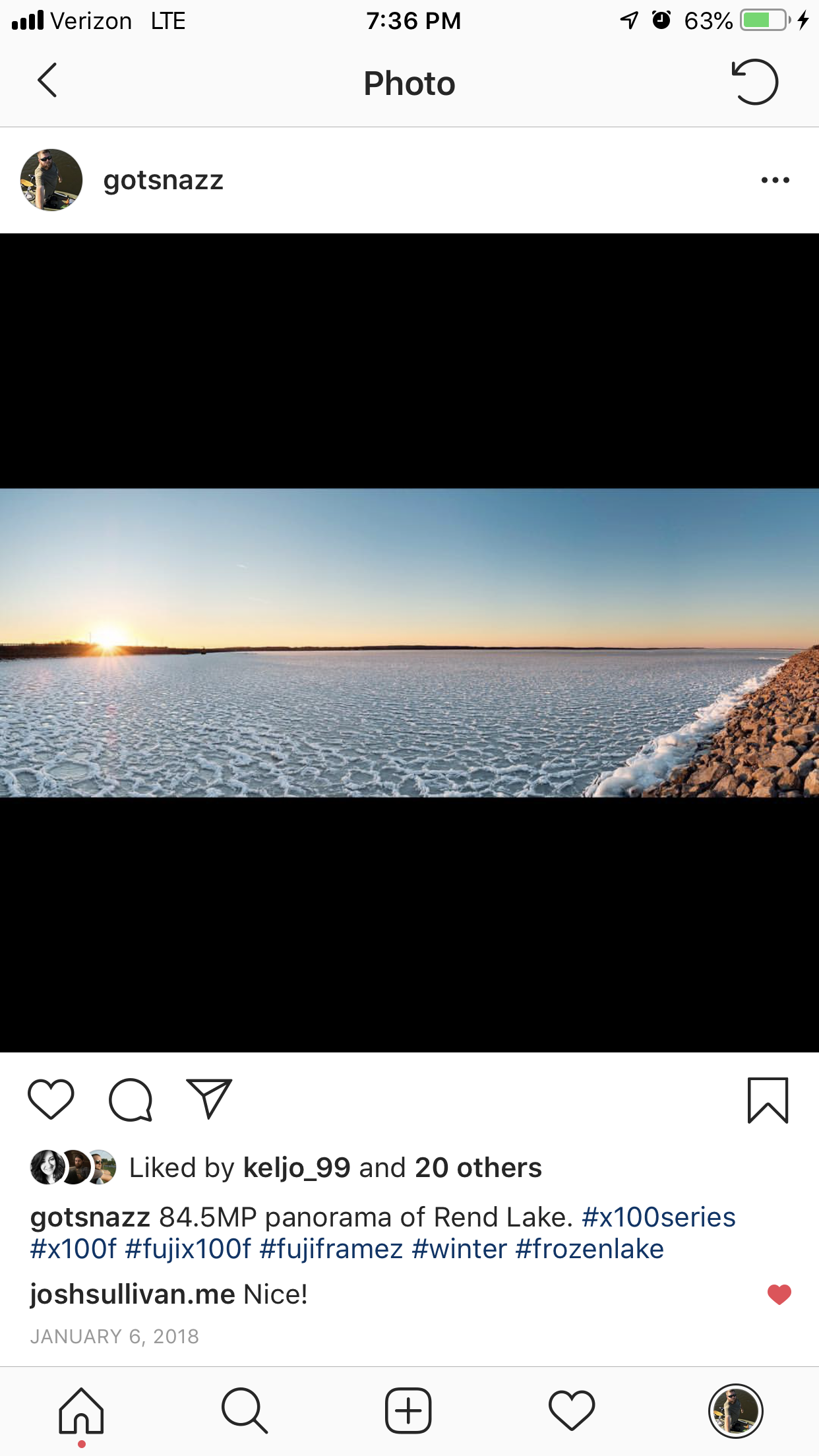 Panorama posted to Instagram. Notice how little of the screen area is being used by the actual photo.