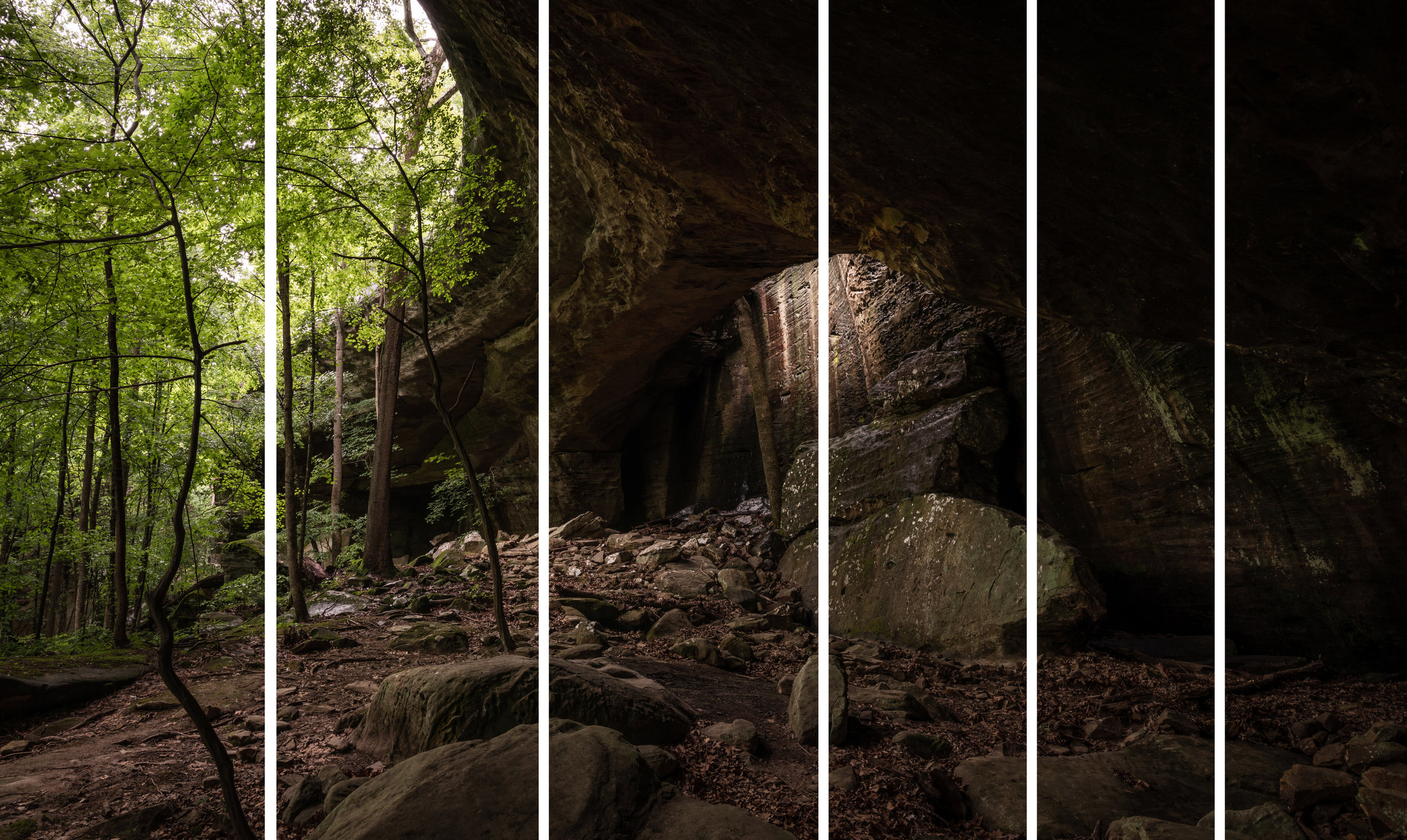 The 6 shots of the panorama. Notice how the frames to the right are narrower where there was more overlap between shots.