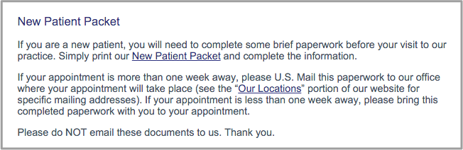 """Example practice statement for """"New Patient Packet"""" downloads"""