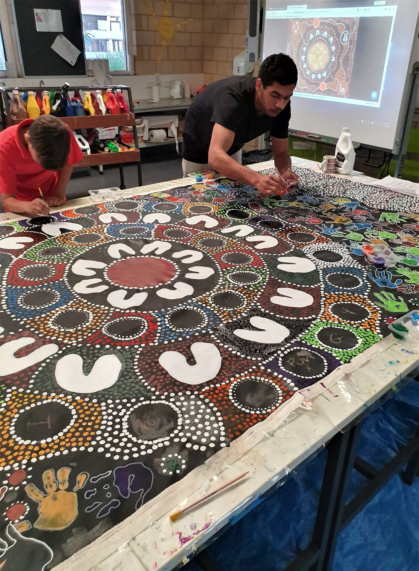 Collier Park Primary School 2019 NAIDOC WEEK  mural - During NAIDOC week Wilura Designs facilitated a series of Aboriginal art workshops. The students produced a canvas mural to celebrate the 2019 theme 'Truth. Treaty. Voice.'