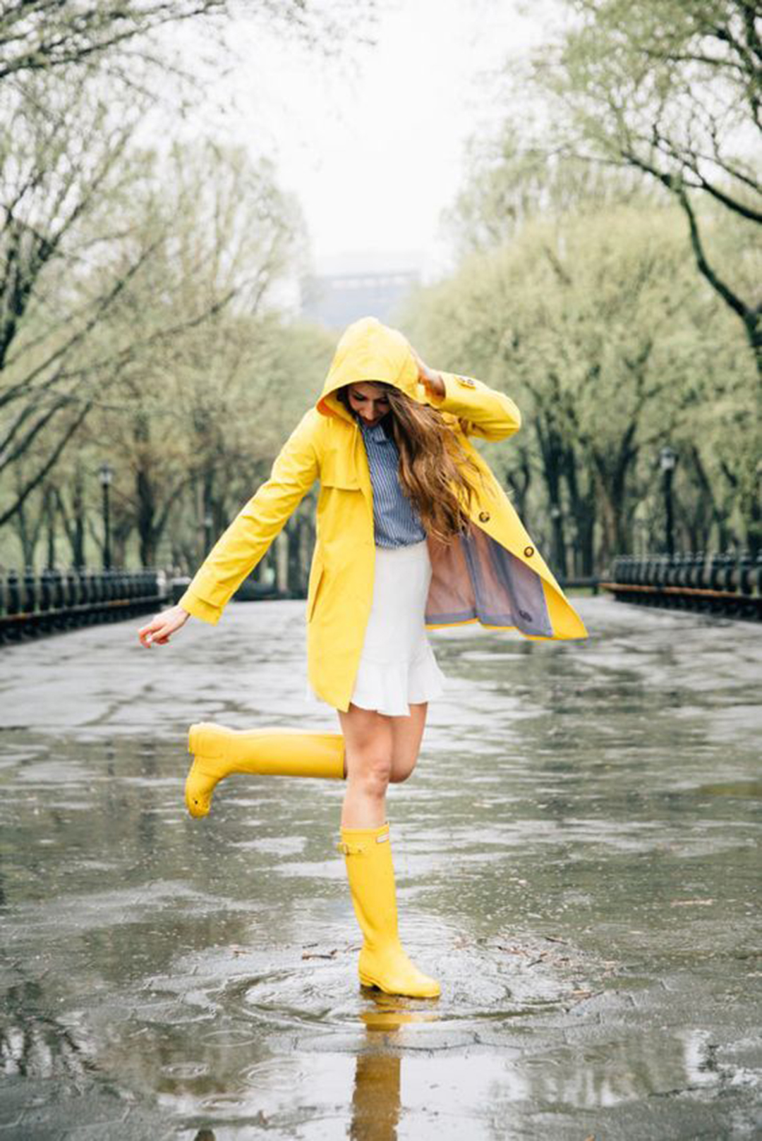 Lovely spring outfit with yellow mac and boots styled by  A Slice of Pi .