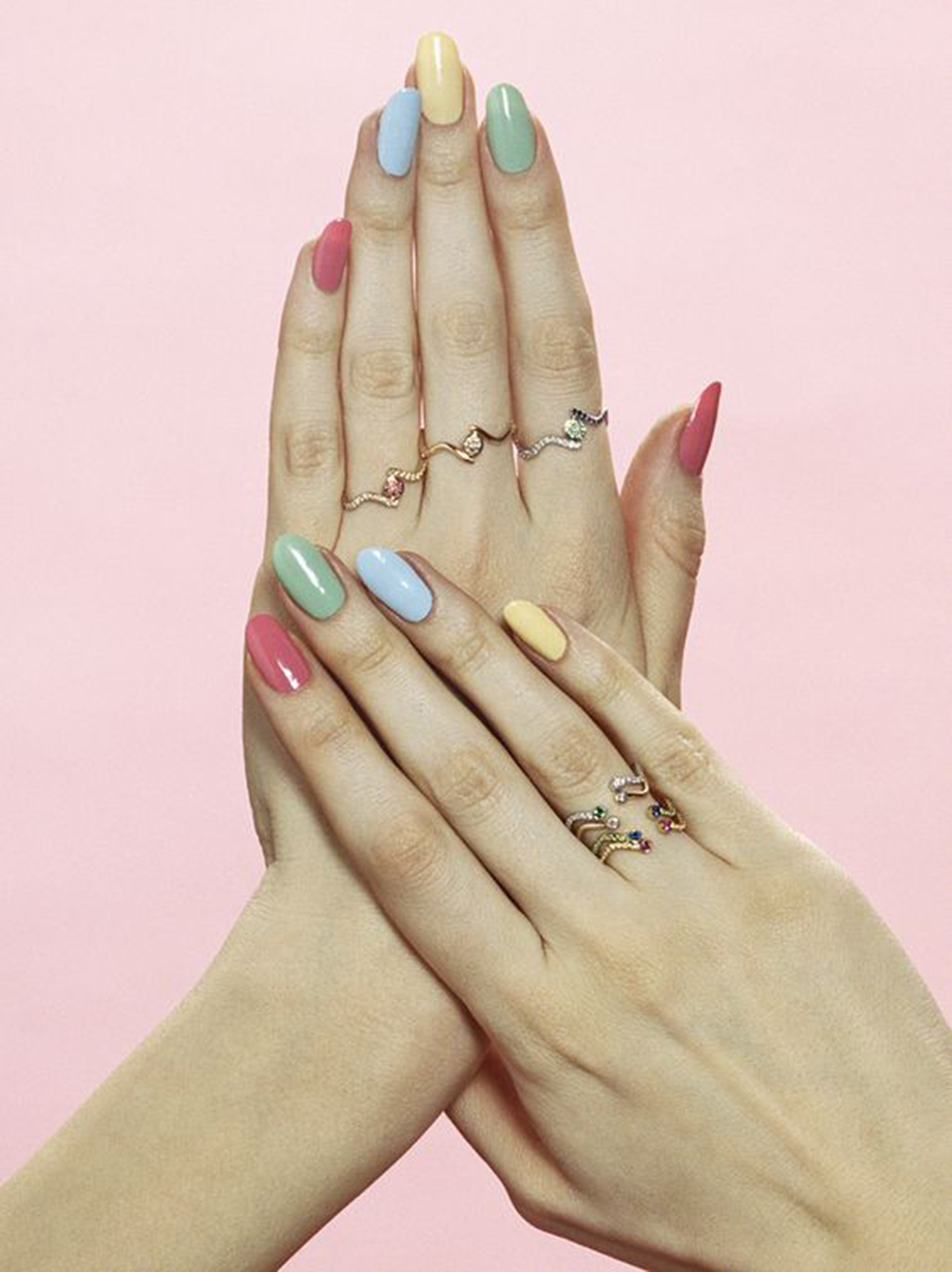 Pastel nail varnish styled for Sabine Getty jewellery for Vogue.