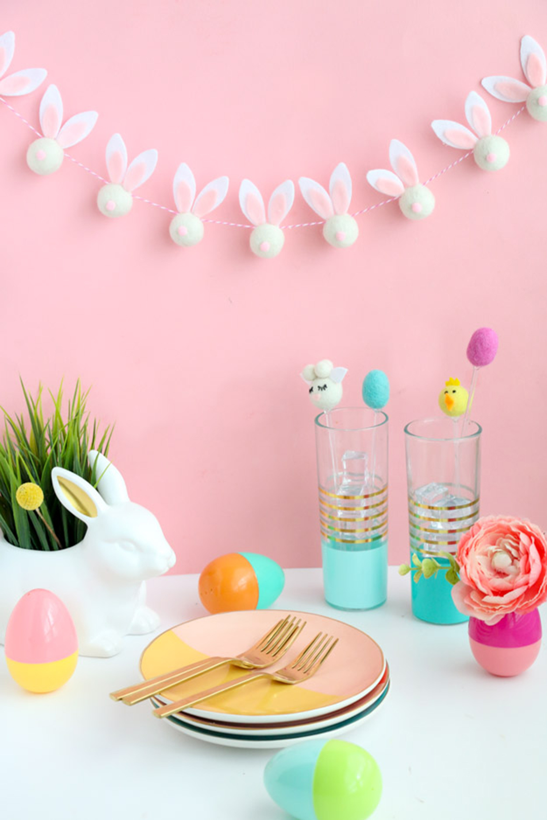DIY Felt Ball Bunny Easter Garland from  A Kailo Chic Life .