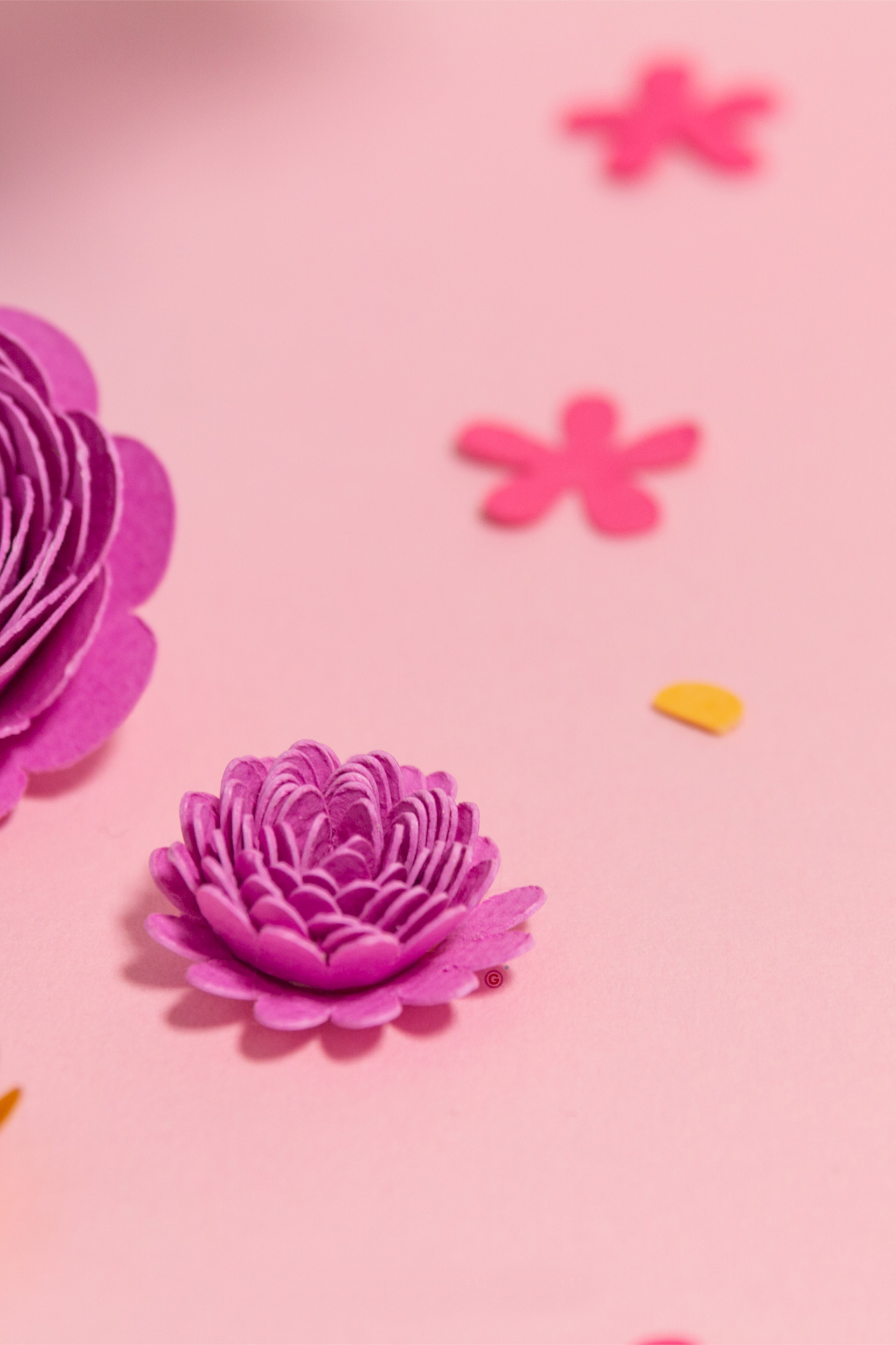 Purple paper Spring flower detail from the Easter basket project made with the Cricut Maker | Georgie St Clair