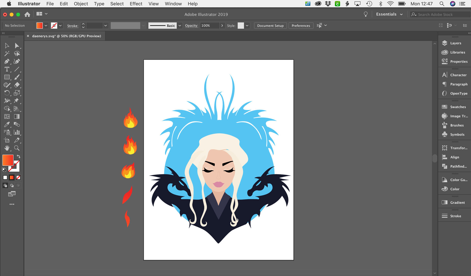 Daenerys-In-Illustrator.jpgVector drawing of Daenerys Targaryen in Illustrator. Saved as an SVG for the Cricut Design Space | Georgie St Clair