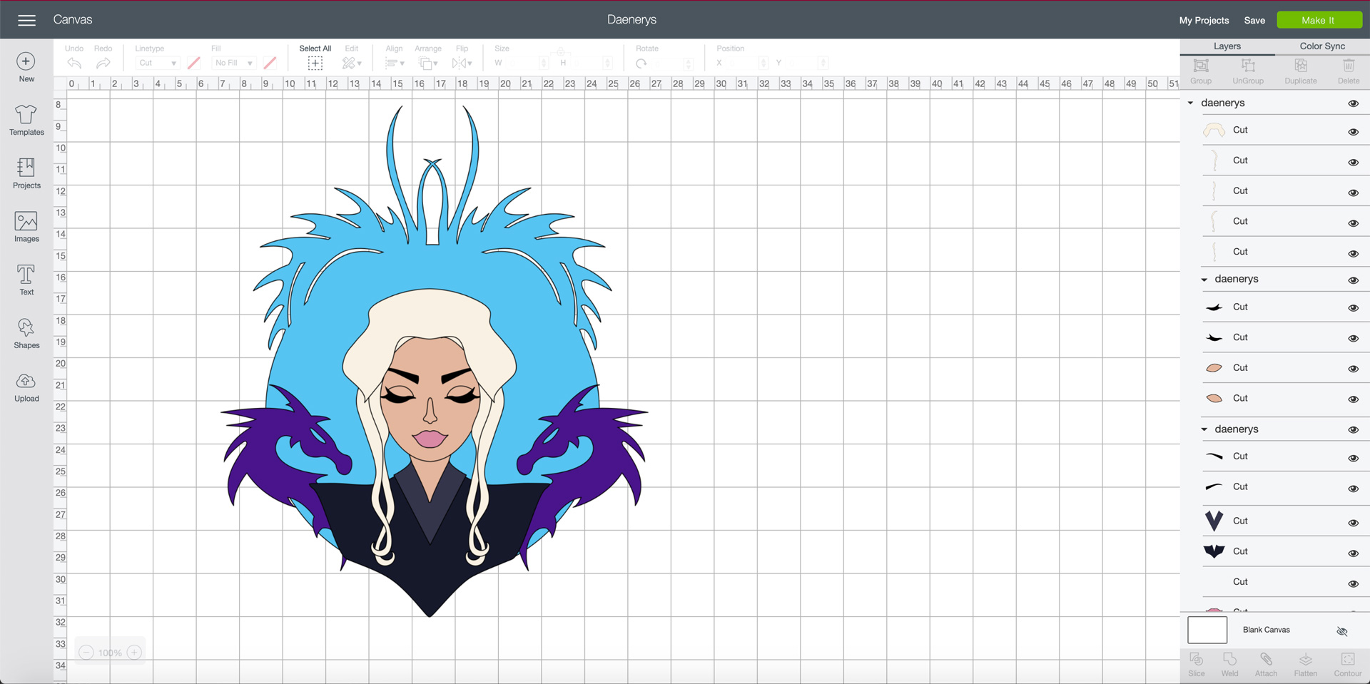 Daenerys Targaryen in the Cricut Design Space | Georgie St Clair