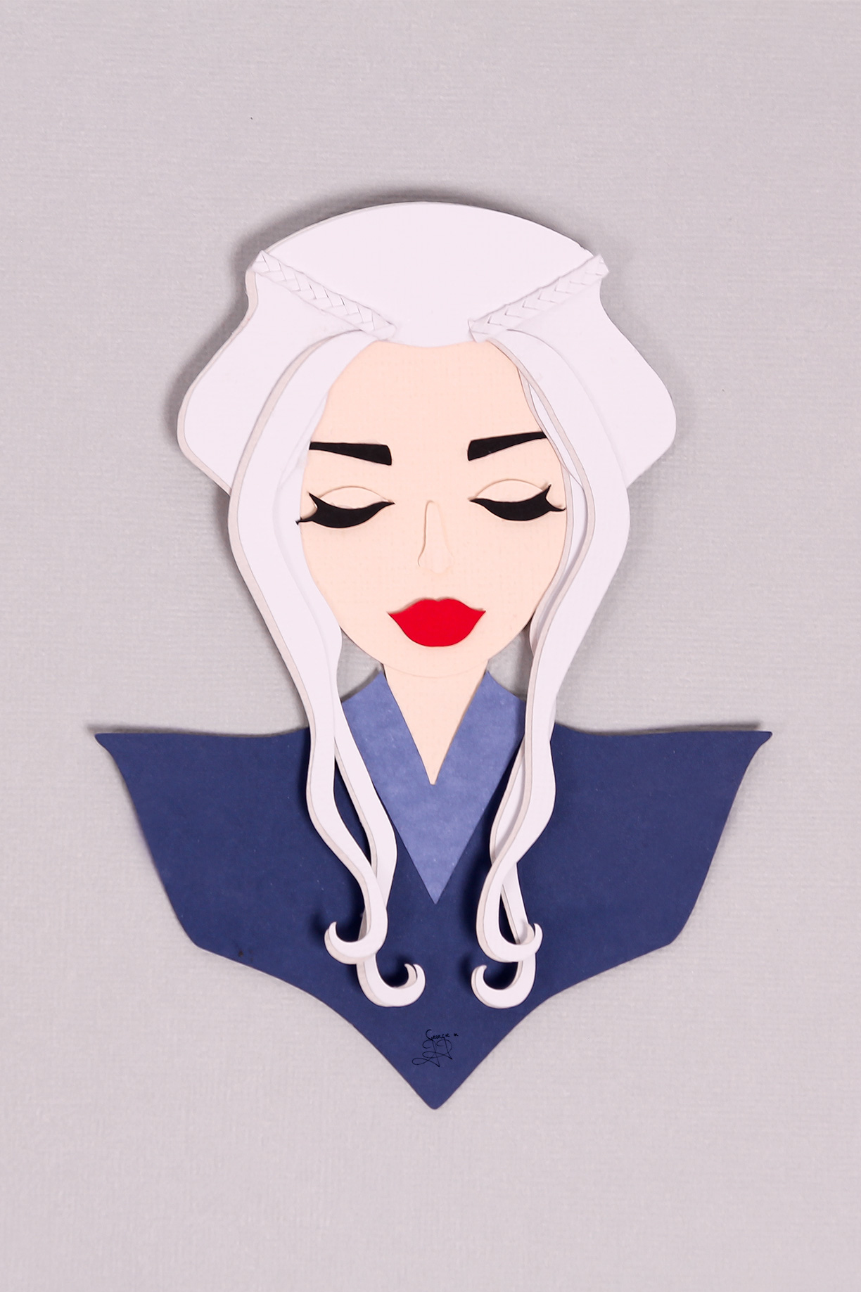 Daenerys Targaryen paper cut illustration details | Georgie St Clair, stop motion animation