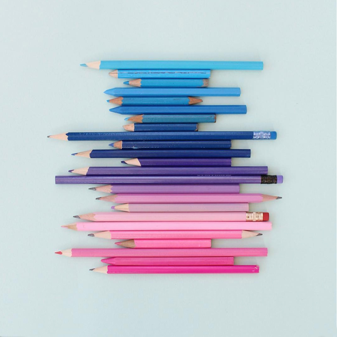 Masters of Instagram Content Creation: Caroline South | Recycled Pencils in Pink and Blue