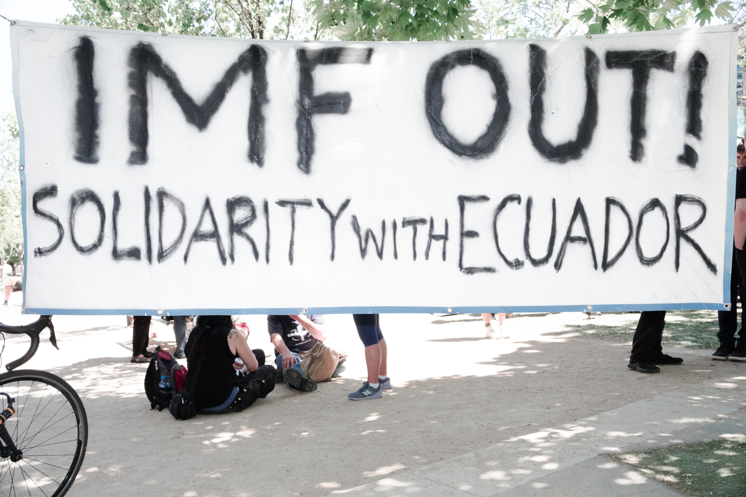 A banner calling for IMF to get out of Ecuador. (Photo: Jeremy Gan)