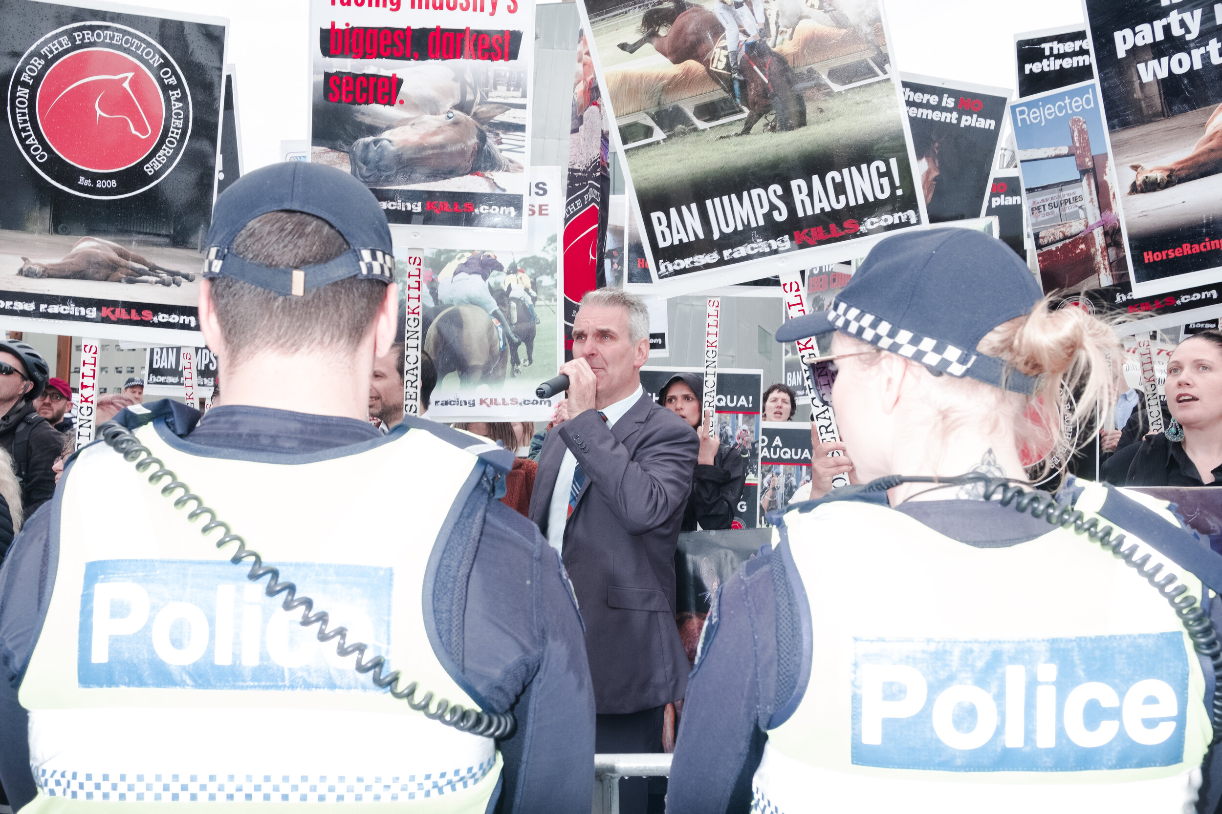 Police look on as protesters call for horse racing bans. (Photo: Jeremy Gan)