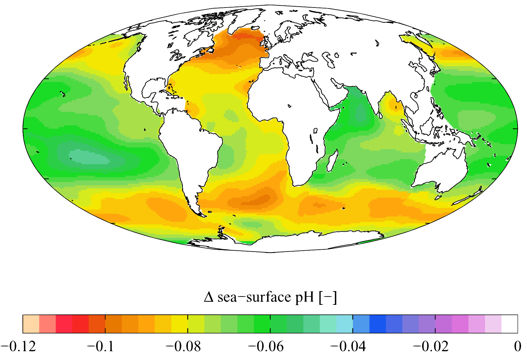 Estimated change in sea water pH caused by human created CO2 between the 1700s and the 1990s, from the  Global Ocean Data Analysis Project  (GLODAP) and the  World Ocean Atlas