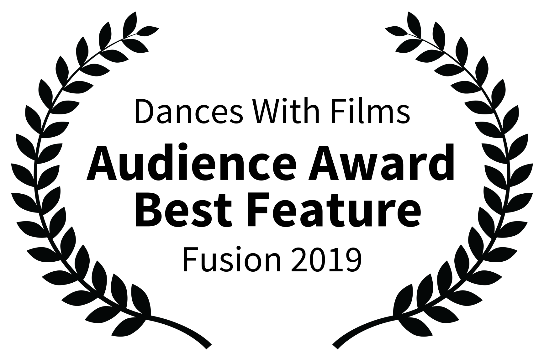 Dances With Films - Audience Award  Best Feature - Fusion 2019 BLACK ON WHITE.png