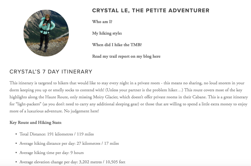 create your own profile - Here is an example of a blogger's unique landing page to promote themselves and their latest hiking adventure