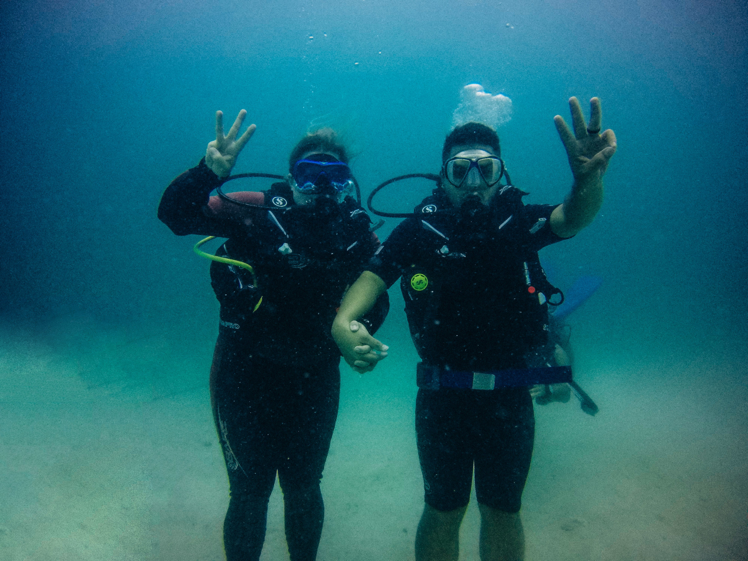 Celebrating our 3rd year anniversary underwater in Malaysia!