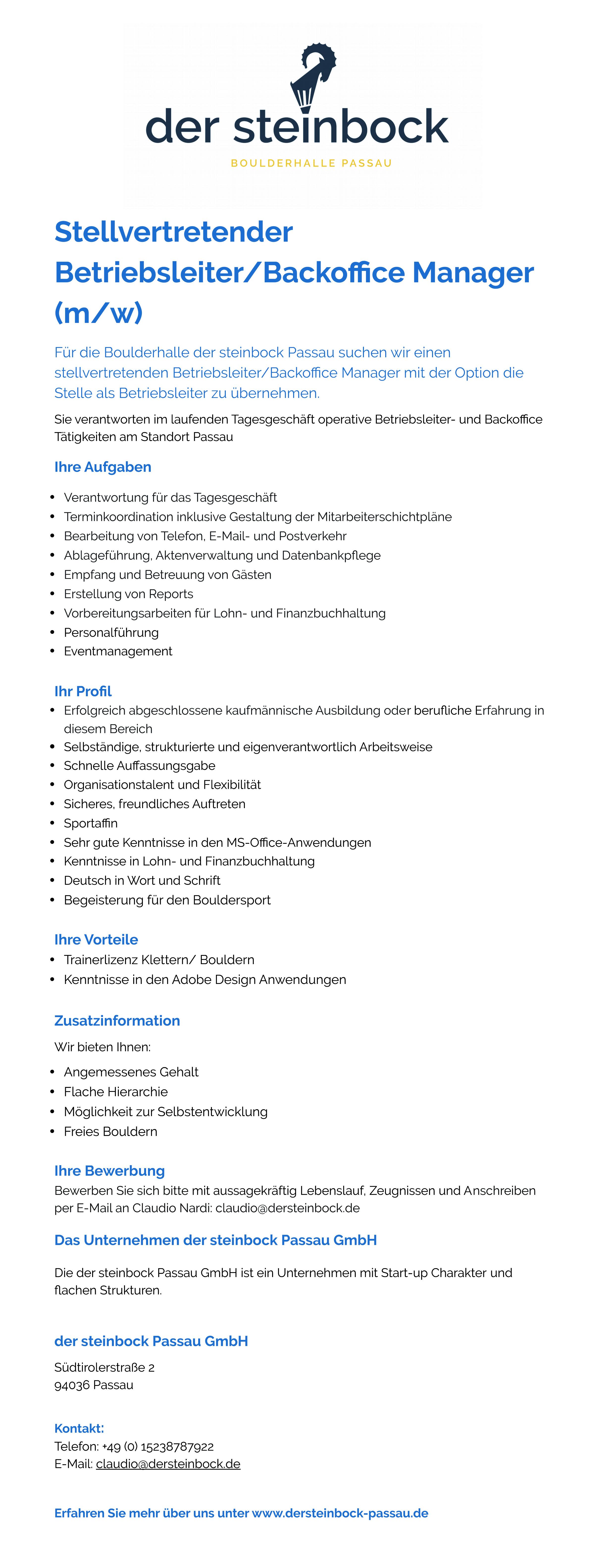 Stellenbeschreibung Stellvertretender Betriebsleiter:Backoffice Manager (m:w) Passau.jpg